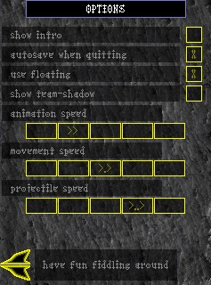 screenshot of the options-screen